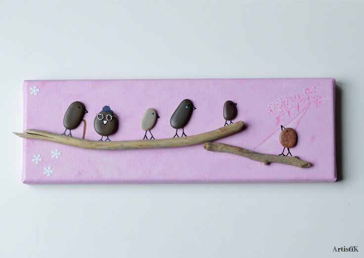 Tableau rectangulaire galets oiseaux bois flott fond rose for Bois flottes decoration