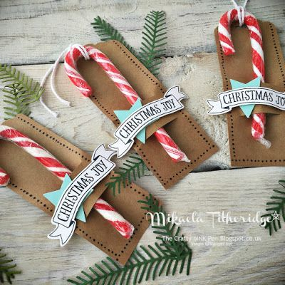 """Mikaela Titheridge, The Crafty oINK Pen: Creation Station Blog Hop - Wrap it Up for Christmas. Gift bag from sheet of 12x12"""" patterned paper. FREE Tutorial available with Candy Cane Gift Tags. Supplies available through my online store."""
