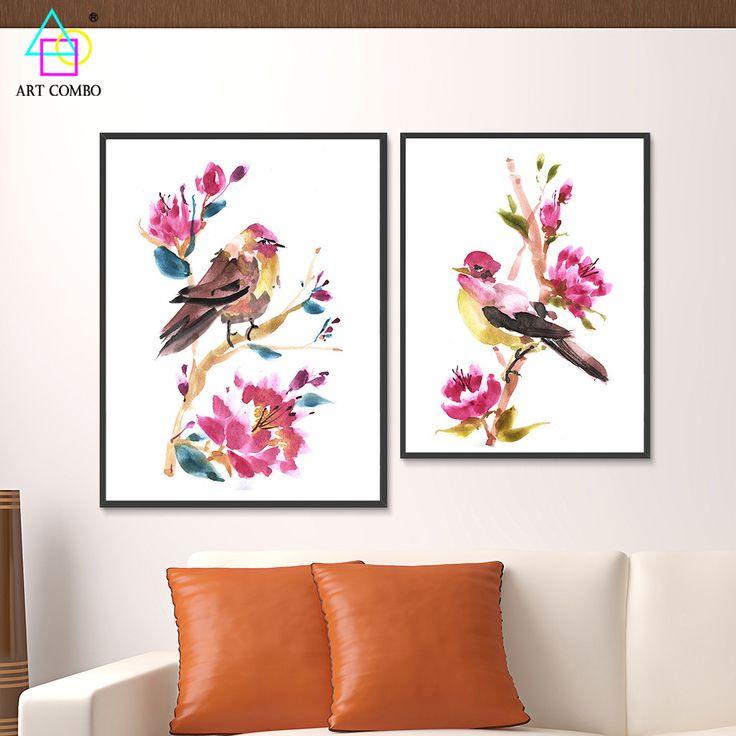 Традиционный Китайский Пейзаж Холст Картины Птицы Стоя на Спрей Стены Художественной Картине для Гостиной Home Decor ART COMBO ZS008 купить на AliExpress