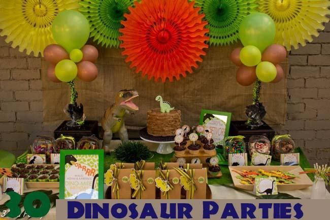 This dinosaur dessert table makes great use of bright colors - not to mention the delicious food!