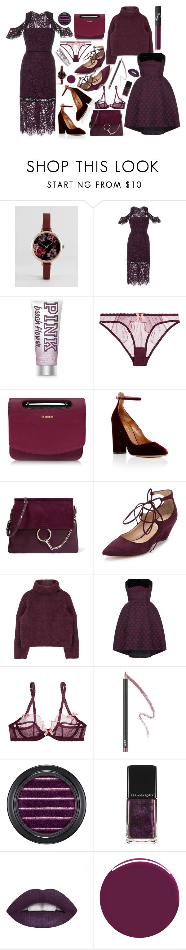 """Blackberry"" by cherieaustin ❤ liked on Polyvore featuring ASOS, Alexis, Agent Provocateur, Jil Sander, Aquazzura, Chloé, belle by Sigerson Morrison, Coast, Bite and MAC Cosmetics"
