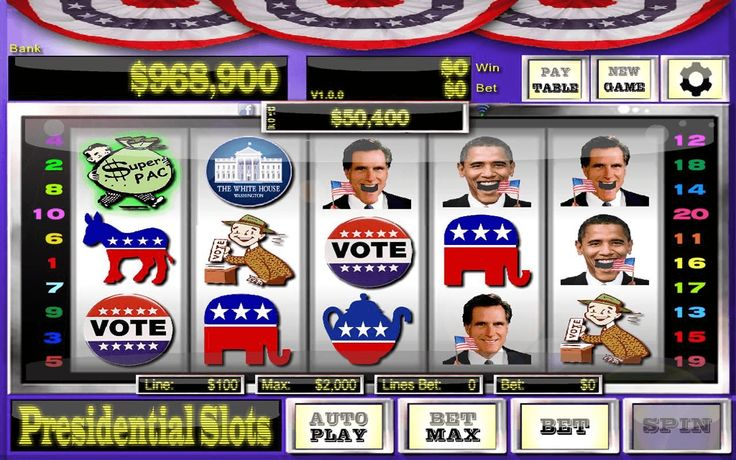 Celebrate the 2012 Presidential election silly season with Free Presidential Slots. <br>- Unlimited free play <br>- 20 pay lines <br>- Bet $100, $1000, or $10,000 per line <br>- Progressive jackpot grows with every bet <br>- Optional Facebook sign-in to brag about your winnings<br><br>Recent changes:<br>1.0.3 Changes<br>- Numerous bug fixes<br>- Performance improvements<br>- Facebook prompt can be turned off<br>- Device will not sleep during Autoplay<br><br>Content rating: Medium Maturity