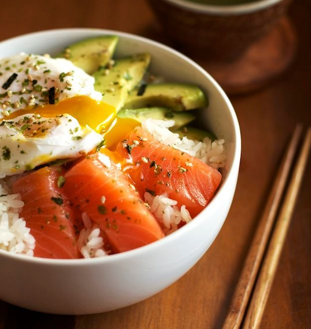 Salmon Sashimi Rice Bowl - Nothing goes better with raw salmon than white rice, egg and avocado. Get the full recipe here.