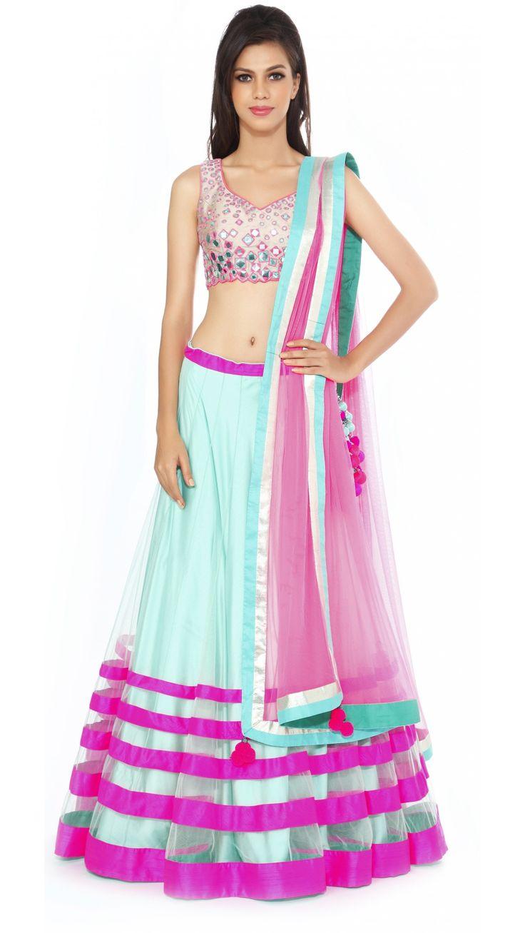 Hot Pink & Light Blue Sheer Lengha