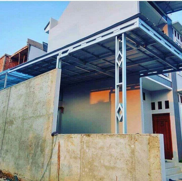 contoh kanopi baja ringan atap spandek bajaringan bogor alderon genteng metal