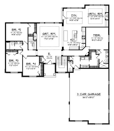 Floor plans aflfpw76370 1 story traditional home with 4 for 4 bedroom ranch house plans