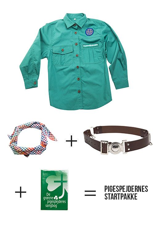 Green Girl Scout uniform starter set- blouse, belt, scarf and song book.  http://55nord.dk/Webshop/De-gr%C3%B8nne-pigespejdere.aspx