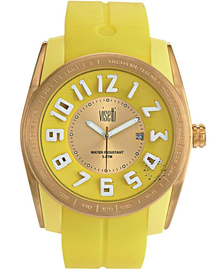 VISETTI Bolero Gold Yellow Rubber Strap Μοντέλο: FC-751GY Τιμή: 55€ http://www.oroloi.gr/product_info.php?products_id=39474