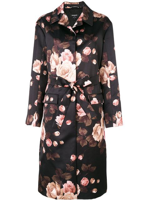 Rochas floral belted midi coat