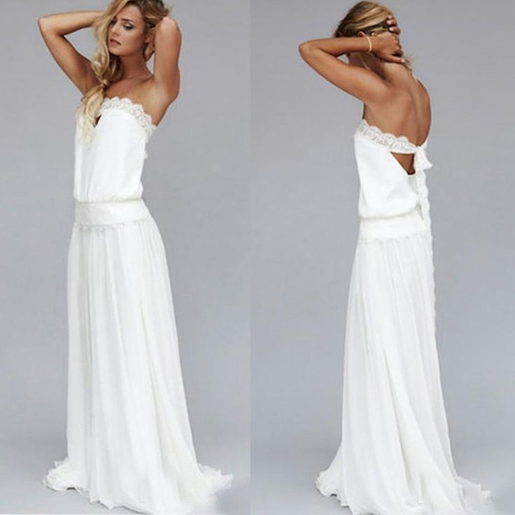 Find a Simple Ivory/White Chiffon Beach Wedding Dresses Lace Strapless Open Back Dropped Bohemian Wedding Dress Boho Wedding Gowns Online Shop For U !