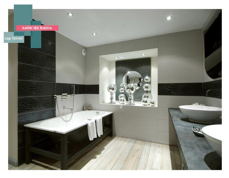 salle de bains | B_indoor | www.b-indoor.com/ #decoration #design #agencement #contemporain #art #mobilierdesign #amenagement #plans #douche #bathroom #salledebains #meublevasque #bagnoire #faience #carrelage #noiretblanc #croco