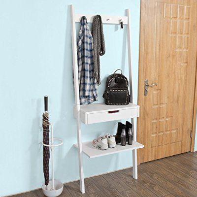 SoBuy® Stand appendiabiti,mensola Scala, Guardaroba,con cassetto, bianco,FRG113-W,IT