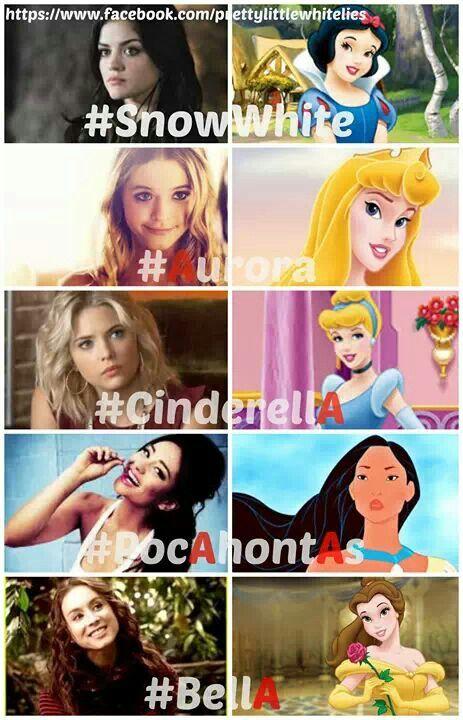 Pretty Little Liars as the Disney Princesses. soo cute. I am also Aurora :)
