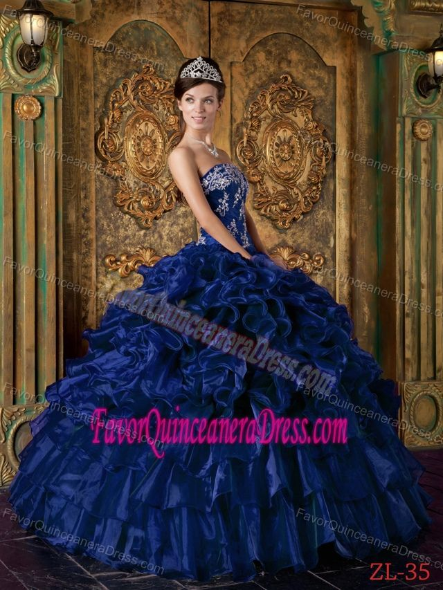 Beautiful Dark Blue Ball Gown Strapless 2014 Quinceanera Dress with Pick-ups