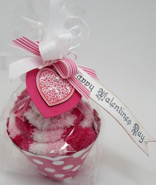 """Fuzzy slipper """"cupcake."""" Such a cute packaging idea!"""