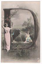 Letter D Letters of the Alphabet, Edwardian Lady & Children PHOTO old Postcard