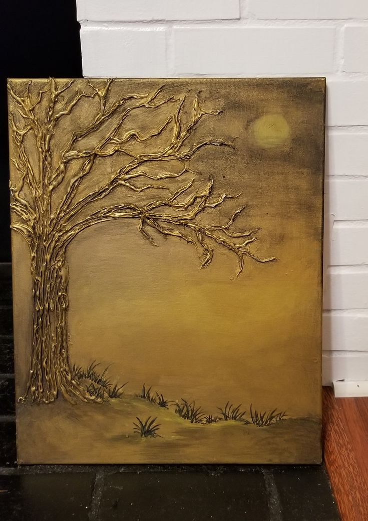Metallic 3d Acrylic Painting Mystic Tree Etsy Canvas