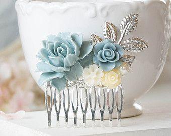Polvo azul flor marfil azul polvoriento pelo peine boda azul