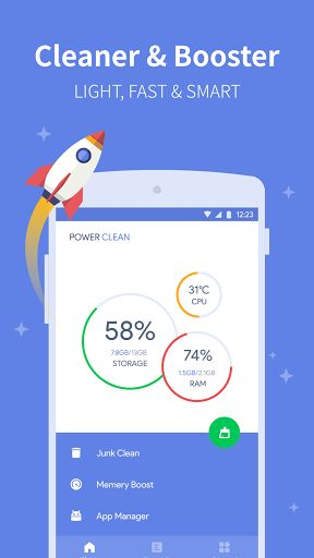 Power Clean - Optimize Cleaner v2.9.5.3 [Mod Debloated]   Power Clean - Optimize Cleaner v2.9.5.3 [Mod Debloated]Requirements:4.1Overview:Power Clean as a professional Android Cleaner & Optimizer is the first choice of over 100 Million users all over the world.  How does Power Clean help to improve your device performance?  Speed Up Phone Performance  Power Memory Cleaner (Power Boost) and RAM Performance Booster (Memory Booster) of Power Clean speedup your android phone and optimize your…