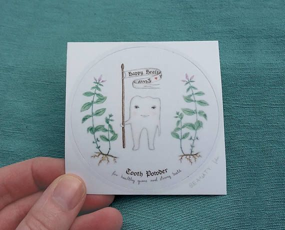 Adorable LAMINATED WATERPROOF STICKER for tooth powder Round