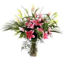Pink Lily Flower Bouquet Hand Tied