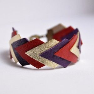 Bracelet Geométrique Cuir  // leather bracelet