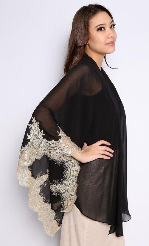 Kimono Kebaya Top with Lace in Black and Gold | FashionValet