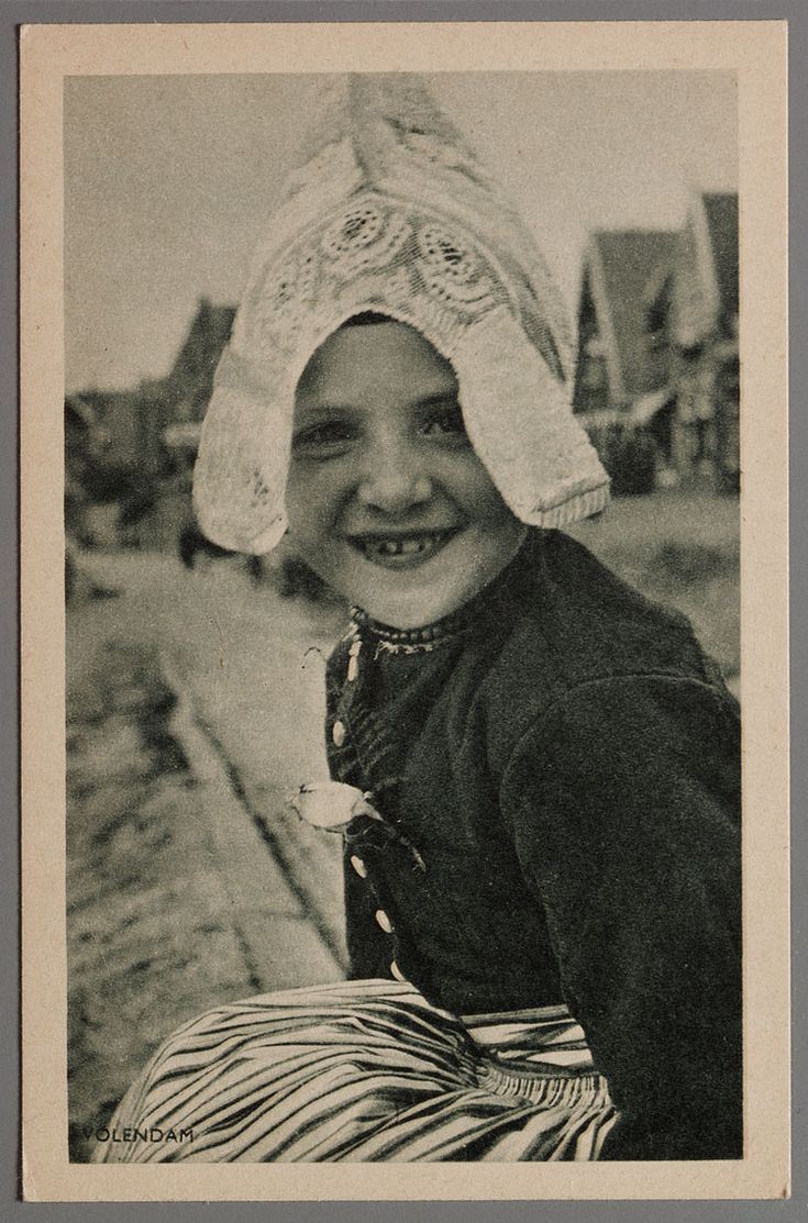 Vintage photo of Dutch girl in traditional costume