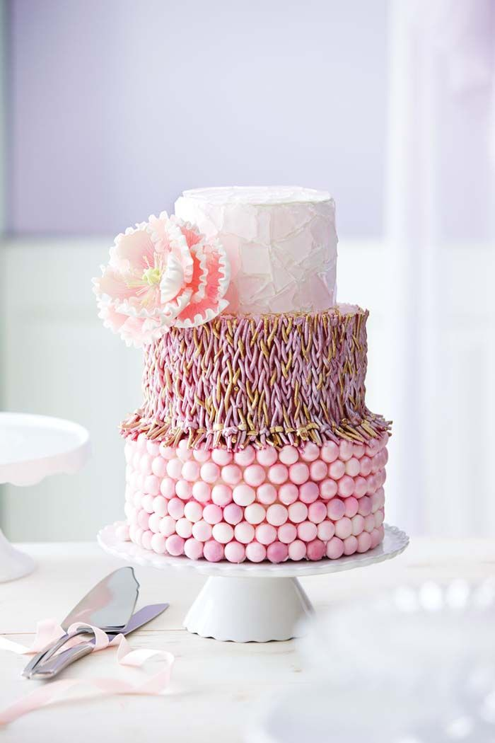 Candy Covered Pink Tiered Cake