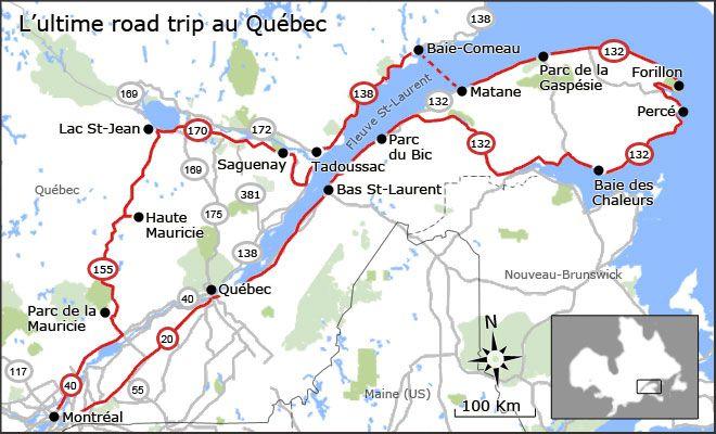 Carte de l'ultime road trip au Québec: heureuse de savoir que je l'ai déjà réalisé cet ultime road trip! :)