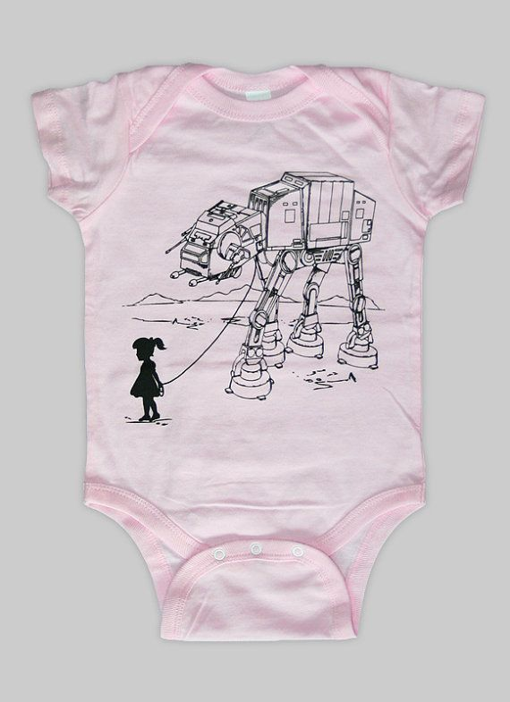 Holy I want this oh so badly!  And the shop is out of Calgary!  Etsy $15.00  My Star Wars AT-AT Pet - Baby Onsie in pink.  Shop is called Ironspider by Engram Clothing