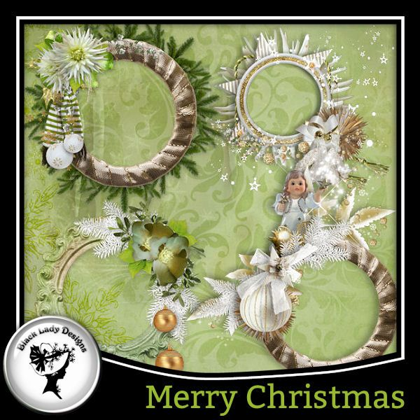 Merry Christmas Frames by Black Lady Designs