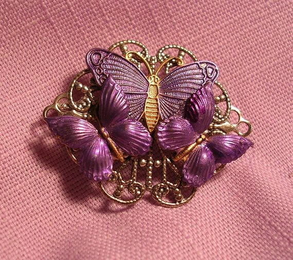 Hand Painted Lavender  Butterfly Pin. Silver by JanHallDesigns