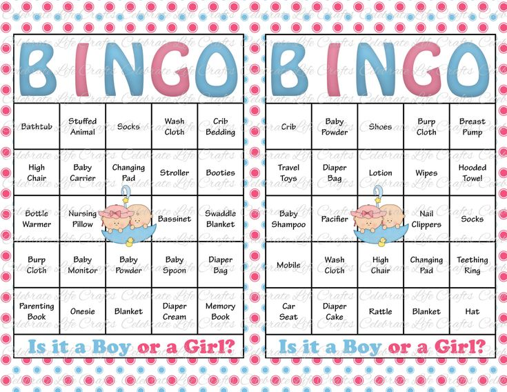 Baby Shower Bingo Cards Printable Party Gender Reveal