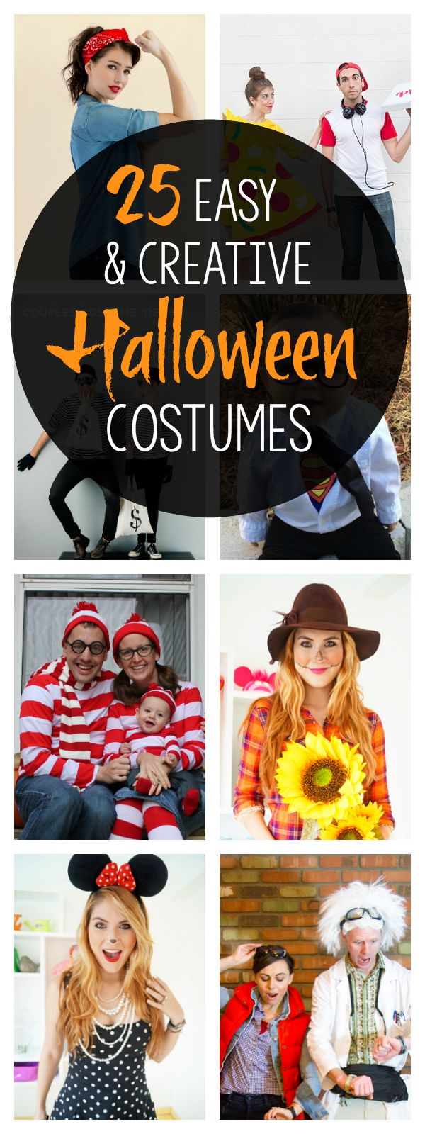 Coming up with Halloween party costumes for everyone in the family can be hard-so we've gathered some quick & easy (but still creative) ideas for everyone.