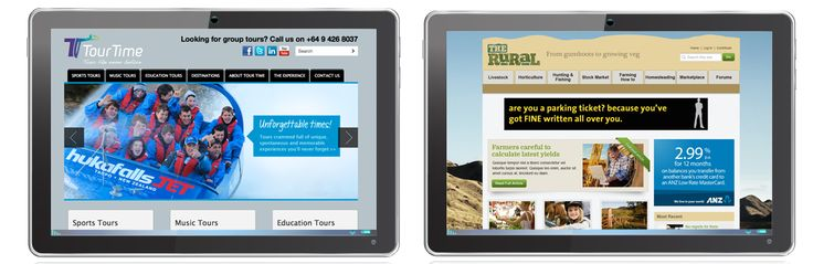 tablet and mobile device web design examples