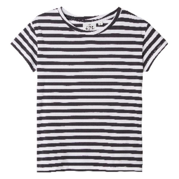 Have Multi Striped Breton Tshirt ($32) ❤ liked on Polyvore featuring tops, t-shirts, shirts, black and white t shirt, breton stripe tee, short sleeve tee, striped tee and striped t shirt