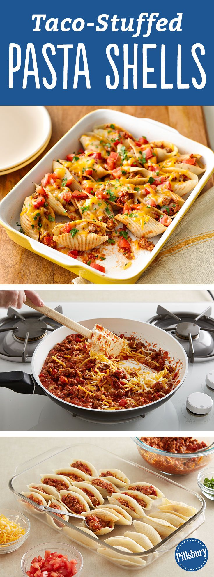 """Our members say this Mexican-inspired take on stuffed shells is """"a keeper!"""" If you don't have ground beef on hand, try making it with chicken, turkey, black beans or even vegetarian protein crumbles. If you prefer more heat, try some chopped jalapeños on your shells."""