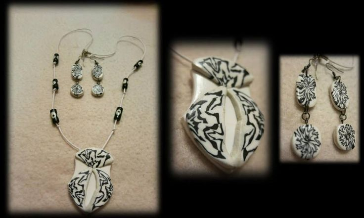 Hand made polymer clay necklace and earring. https://www.facebook.com/Anna-Donna-%C3%A9kszer-231340573715505/