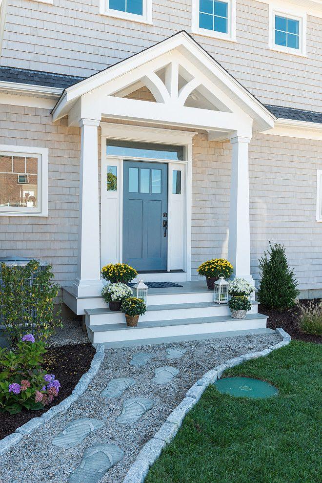 Door paint color is Sherwin Williams Needlepoint Navy. Door is Therma Tru and love the fun, flip flop walkway for a backyard pathway