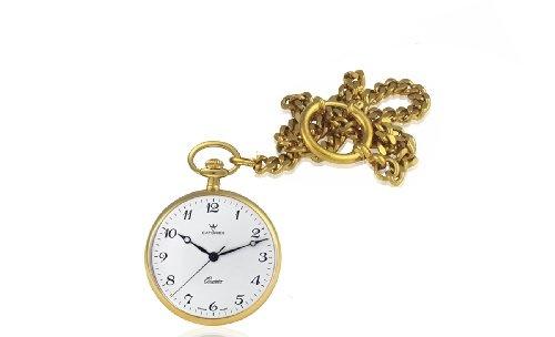 Catorex Men's 871.6.1815.120 Les Breuleux 18k Gold Plated Brass White Quartz Pocket Watch $400.00