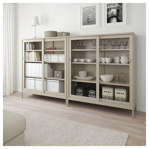 Libreria Ante Scorrevoli Ikea.Idasen Vetrina Con Ante Scorrevoli Beige 120x140 Cm Sala Da
