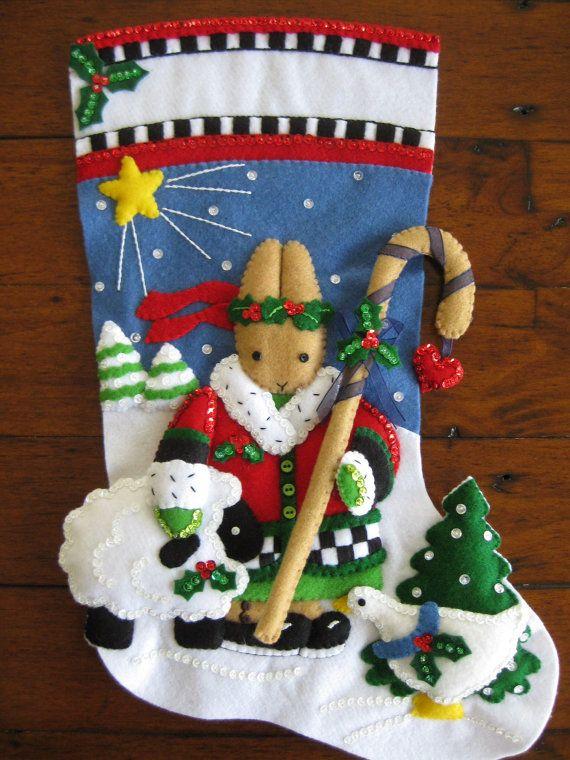 Bucilla Noël Bunny  18 Completed by MissingSockStitchery on Etsy