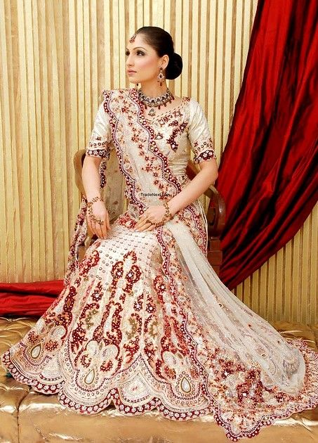 White Embroidered Wedding Lehenga : Online Shopping, - Shop for great products from India with discounts and offers, Indian Clothes and Jewelry Online Shop