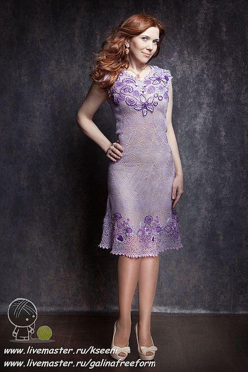 "Crochet Dress   Платье ""Сиреневые сны"", ирландское кружево — работа дня на Ярмарке Мастеров"