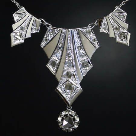 Fashionable Shenanigans: 1920's Art Deco Jewelry: Art Deco Jewelry, Art Nouveau, Art Deco Jewellery, Art Deco Diamonds, Deco Necklaces, Jewels, White Gold, Artdeco, Diamonds Necklaces