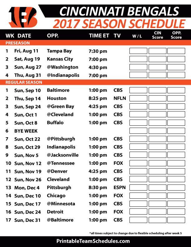 Cincinnati Bengals Football Schedule 2017 https://www.fanprint.com/licenses/cincinnati-bengals?ref=5750