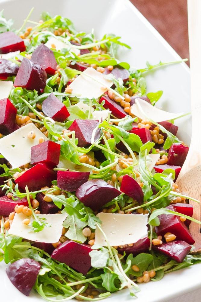 Beet Salad with Arugula, Barley and Parmesan
