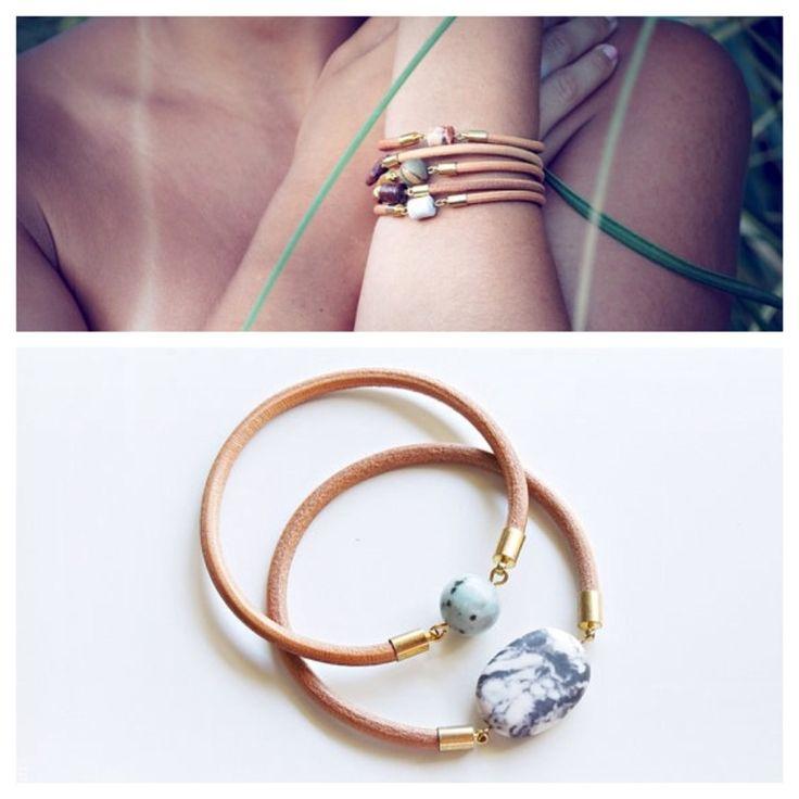 Real leather bracelet with gold plated end caps, Zebra Jasper and Kiwi Zebra Jasper stone bead
