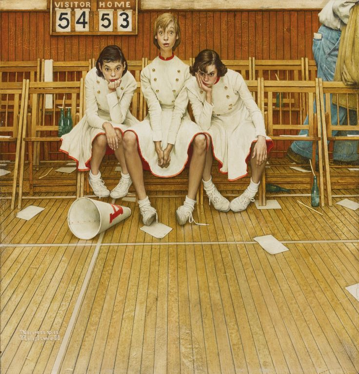 Norman Rockwell 1894 - 1978 Cheer Leaders, Loosing the Game,  1952, oil on masonite,  171/4x16 3/8""